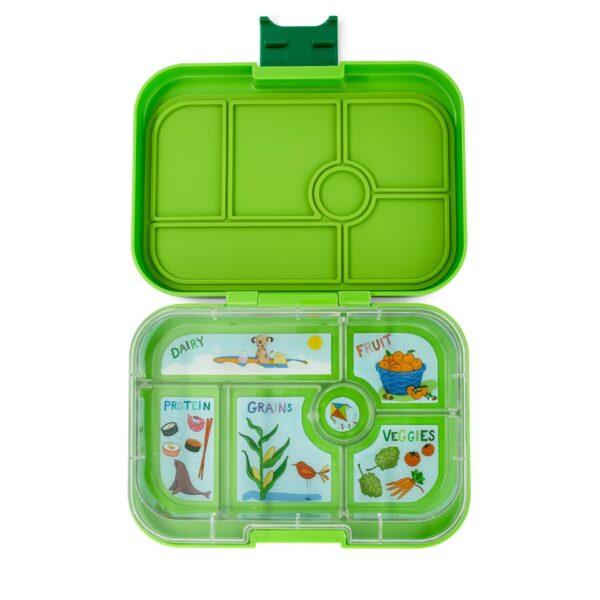 Yumbox Original 6 vaks – Avocado Green met Kite tray