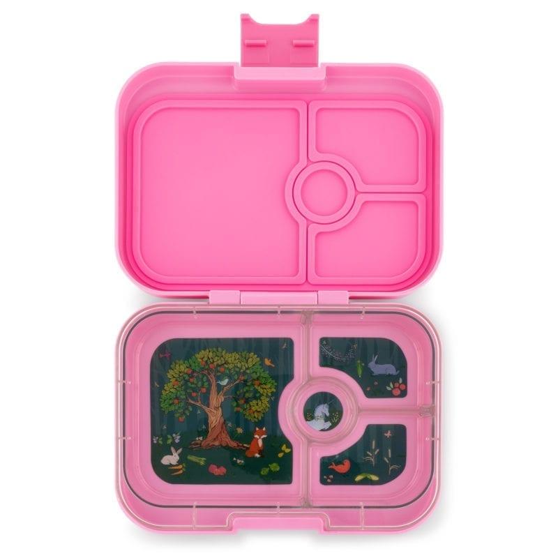 Yumbox Panino 4 vaks – Stardust roze met forest/unicorn tray
