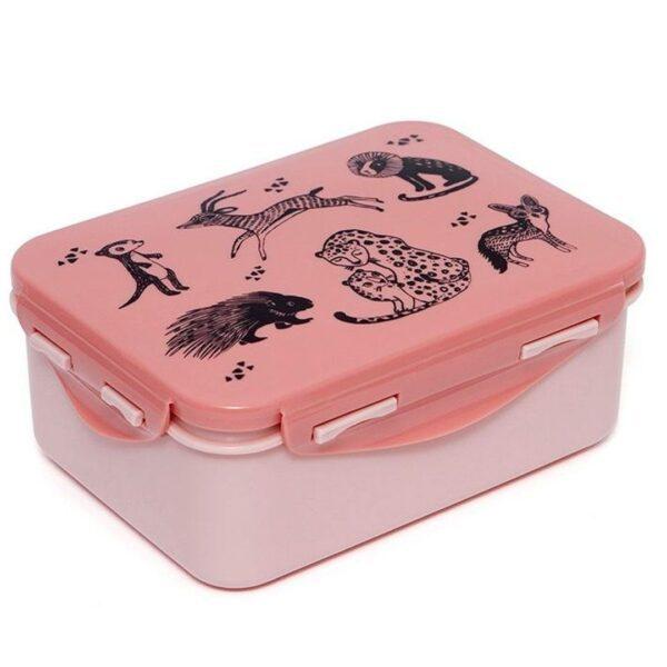 Petit Monkey – Lunchbox Black animals Rose